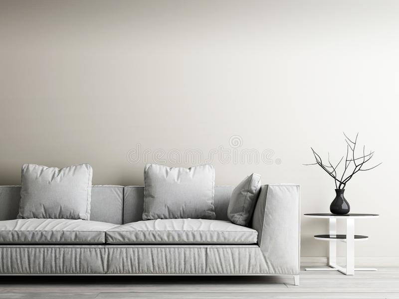 Modern inre av vardagsrum, det hem- dekorbegreppet, den vita soffan och tabellen med den beigea väggen och woodfloor vektor illustrationer