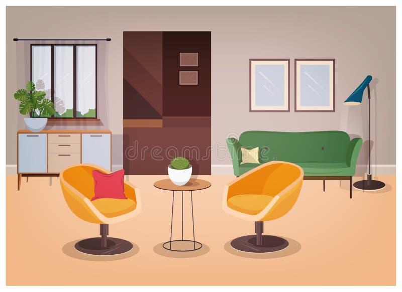 Modern inre av vardagsrum mycket av bekvämt möblemang och hem- garneringar - väl till mods soffa, fåtöljer, kaffetabell stock illustrationer