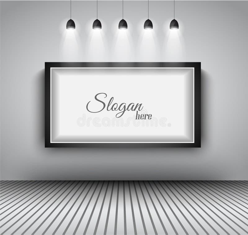Modern inre design för konstgalleriram med strålkastare. royaltyfri illustrationer