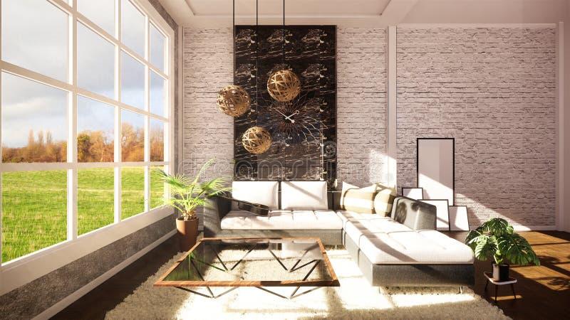 Modern inre för falsk övre vind som planläggs som en modern lägenhet för öppet plan framf?rande 3d vektor illustrationer