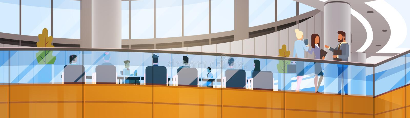 Modern inre för funktionsdugligt möte för Businesspeople för kontorsbyggnad för affärsmitt royaltyfri illustrationer