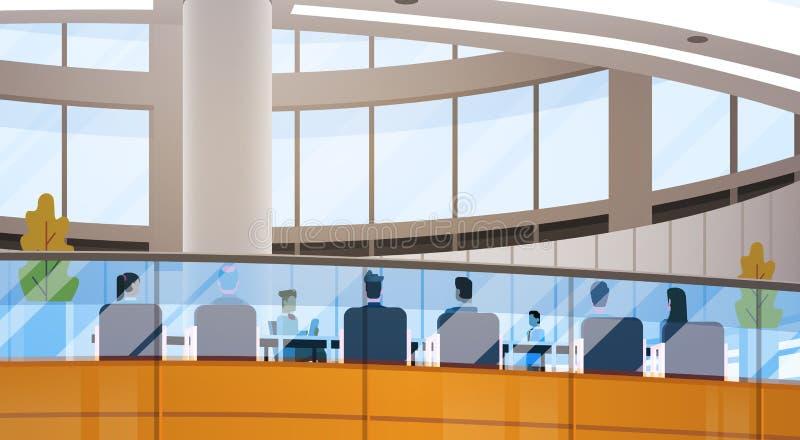 Modern inre för funktionsdugligt möte för Businesspeople för kontorsbyggnad för affärsmitt stock illustrationer