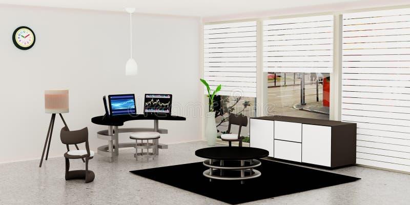 Modern inre för funktionsdugligt rum, pålagd svart skrivbords- dator 3 en exponeringsglastabell framme av den vita väggen royaltyfri illustrationer