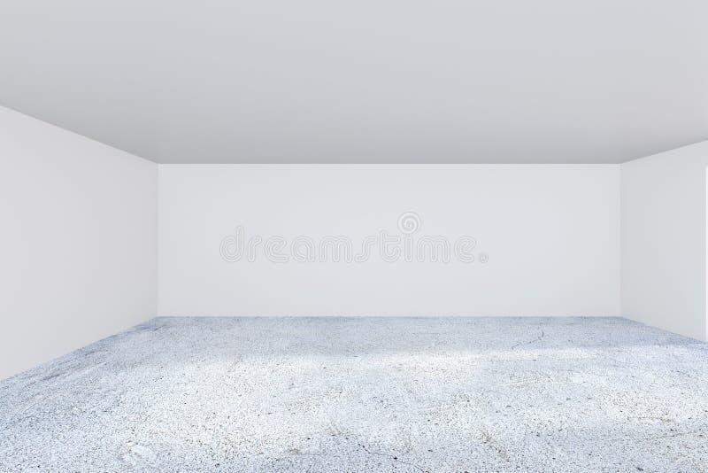 Modern inre för grungebetongkontor med den tomma väggen framförande 3d stock illustrationer