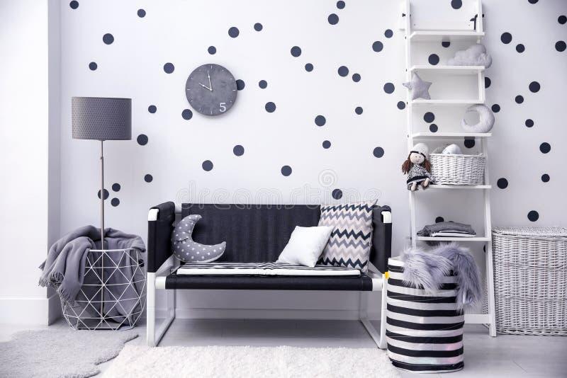 Modern inre för rum för barn` s royaltyfri foto
