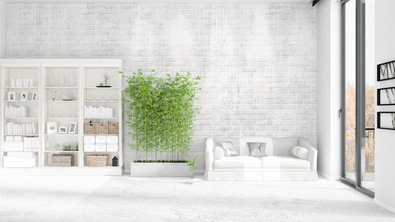Modern inre i mode med den vita soffan och copyspace i horisontalordning framförande 3d stock illustrationer