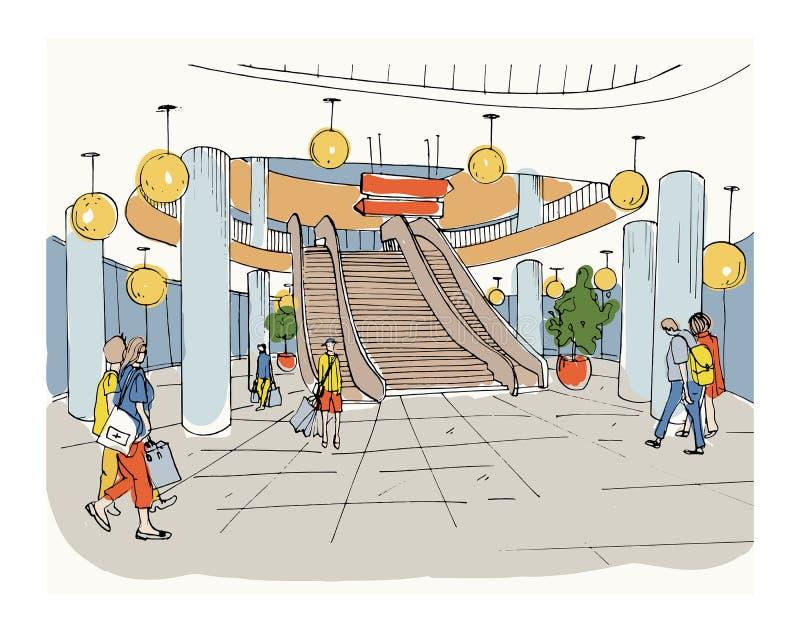 Modern inre köpcentrum, galleria Färgrikt skissa illustrationen stock illustrationer