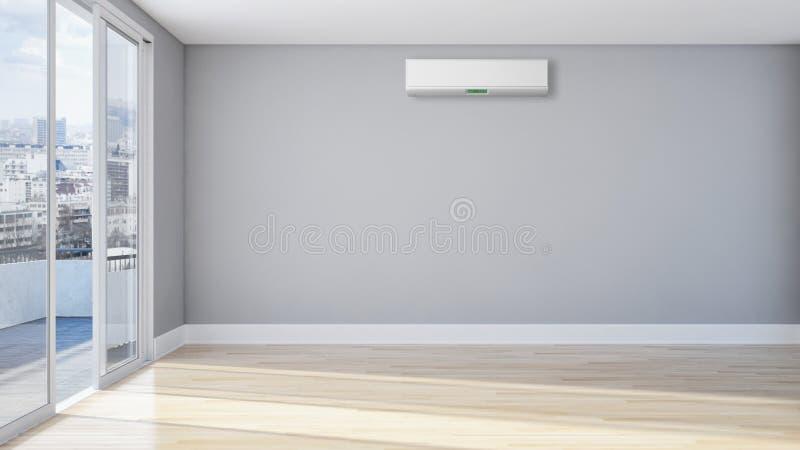 Modern inre lägenhet med luft som betingar 3D som dåligt framför stock illustrationer
