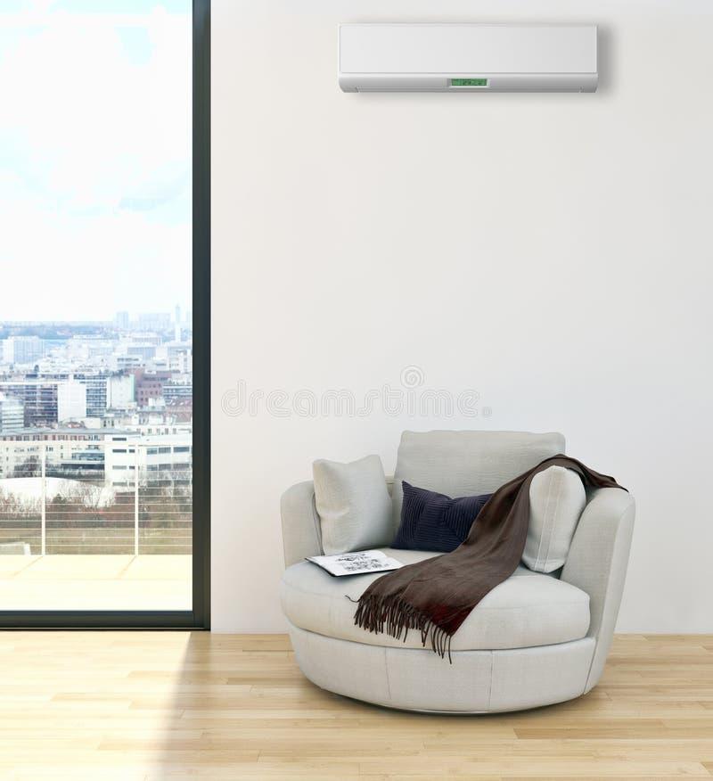 Modern inre lägenhet med luft som betingar 3D som dåligt framför royaltyfri fotografi