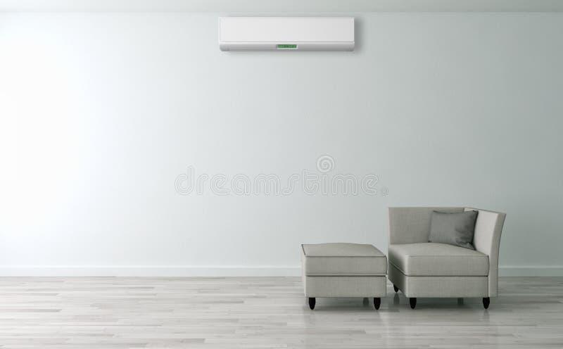 Modern inre lägenhet med luft som betingar 3D som dåligt framför fotografering för bildbyråer