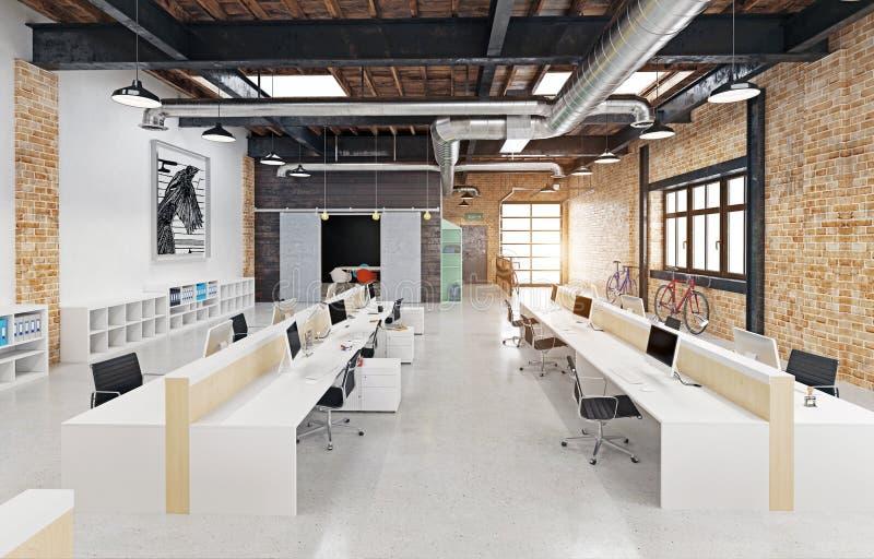 modern inre loft stock illustrationer