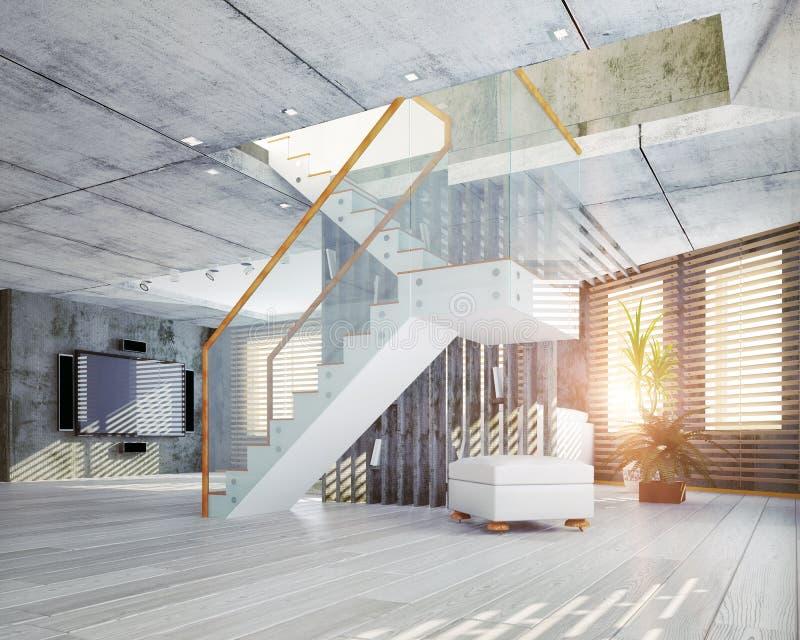 modern inre loft för design stock illustrationer
