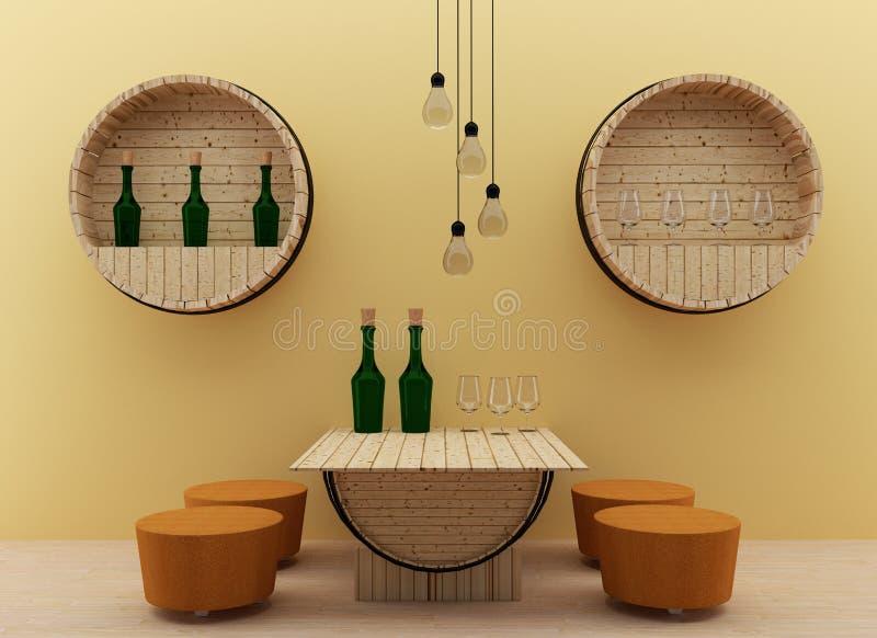 Modern inre matsal med ektrummadesign i 3D framför bild royaltyfri illustrationer
