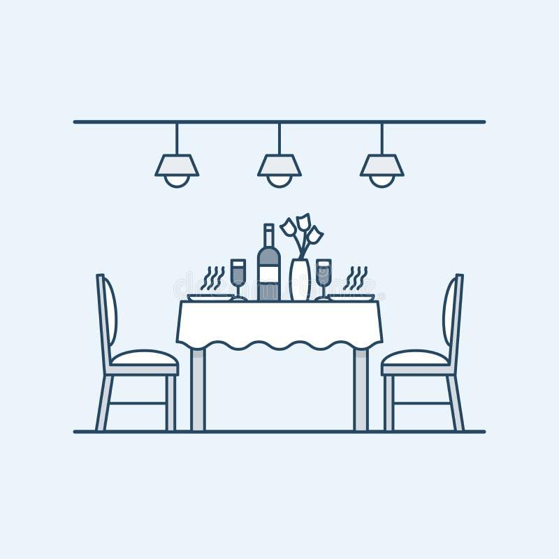 Modern inre matsal med tabellen och stolar och som tjänar som med två personer wine för flaskexponeringsglas Belysningen royaltyfri illustrationer