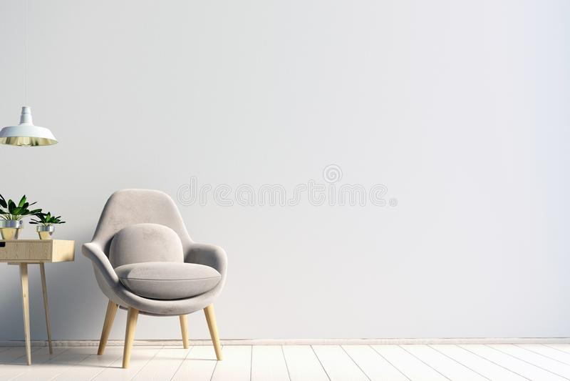 Modern inre med affischen och stol Affischåtlöje upp illust 3d stock illustrationer
