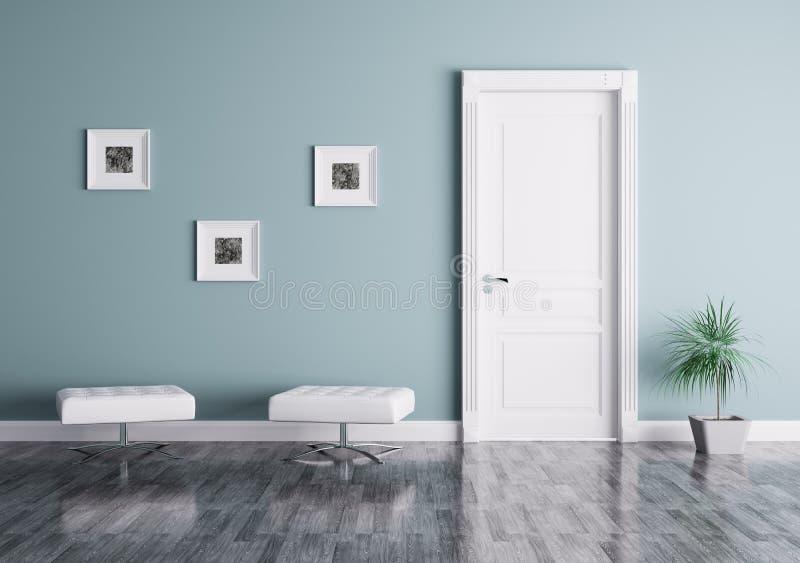 Modern inre med dörren och platser stock illustrationer