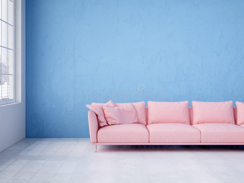 Modern inre med den blåa vägg- och rosa färgsoffan framförande 3d royaltyfri bild
