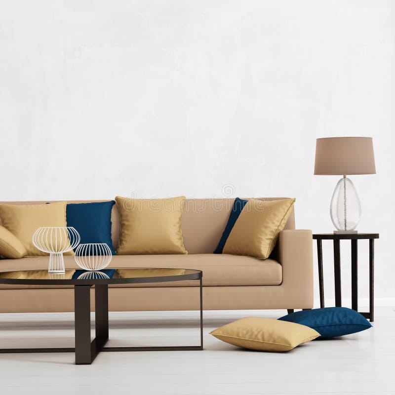 Modern inre med en beige soffa royaltyfri foto