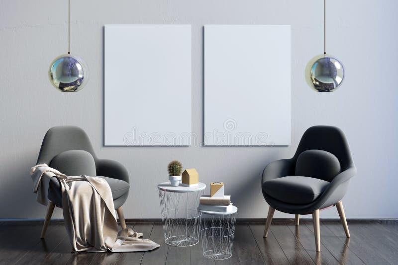 Modern inre med kaffetabellen och par av stolar Affischmoc stock illustrationer