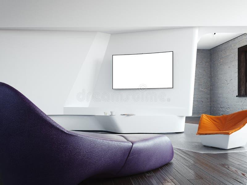 Modern inre med soffa- och mellanrumstvskärmen framförande 3d arkivfoto