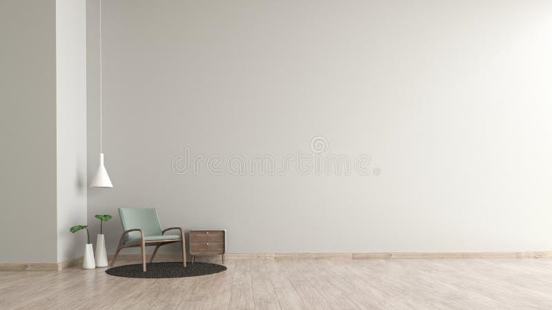 Modern inre vägg för textur för vitt cement för vardagsrumträgolv med den gröna stolmallen för åtlöje upp tolkningen 3d minsta li royaltyfri illustrationer