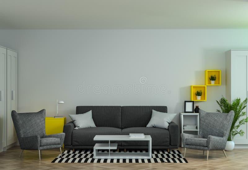 Modern inre vardagsrum för vardagsrum för garnering för arbetsmiljöer för kontorsmötesrum Co med den soffa- och för fåtölj 3d tol royaltyfri illustrationer