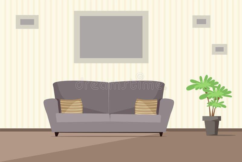 Modern inre vektorillustration för vardagsrum royaltyfri illustrationer