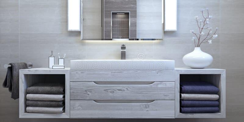 Modern inredesign av badrummet royaltyfri bild