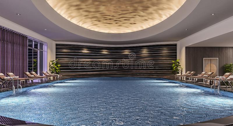 Modern inredesign av den inomhus simbassängen med pölsängar, nattplats, hotellsemesterort, brunnsort, hög kontrast som är mörk royaltyfri foto