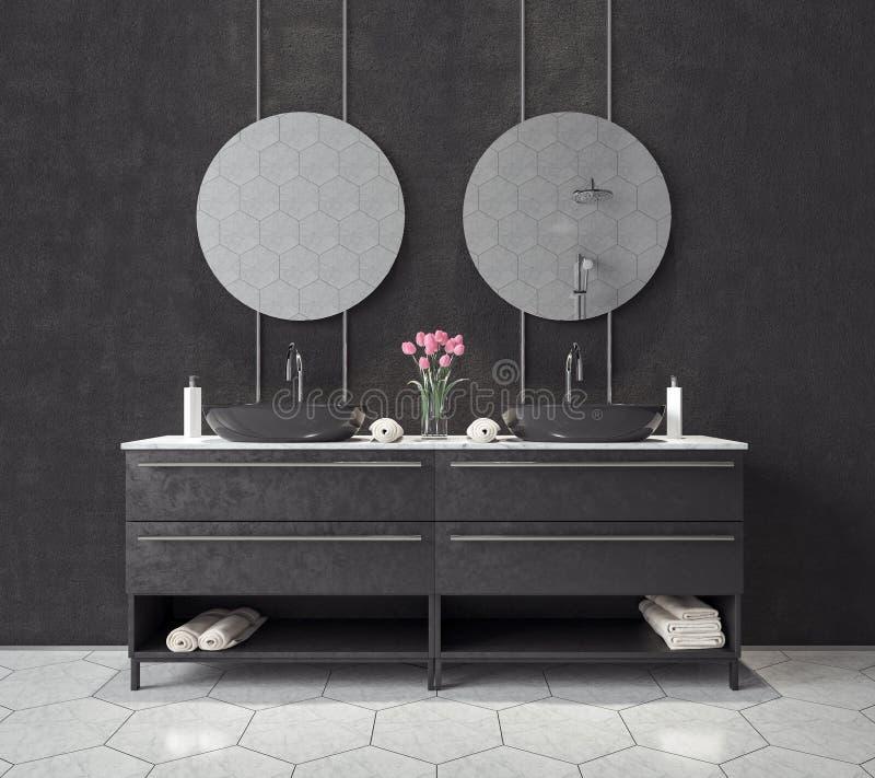 Modern inredesign av det svartvita badrummet 3d att framföra vektor illustrationer