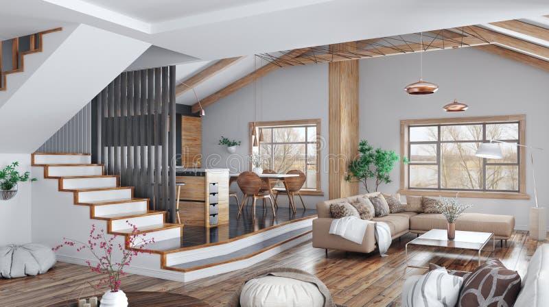 Modern inredesign av huset, kök, vardagsrum med soffan, tolkning för trappuppgång 3d royaltyfri illustrationer