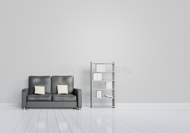 Modern inredesign av vardagsrum med den svarta soffan med gr?a och tr?glansiga golv- och bokhyllor Vit d?mpar best?ndsdelar arkivfoton