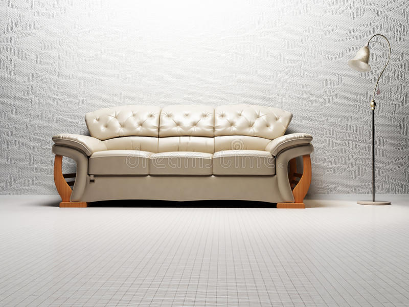 Modern inredesign av vardagsrum med en ljus soffa stock illustrationer