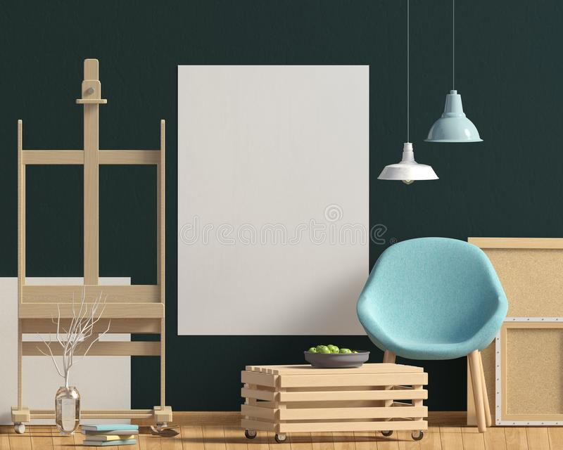 Modern inredesign i skandinavisk stil med kaffetabell a vektor illustrationer