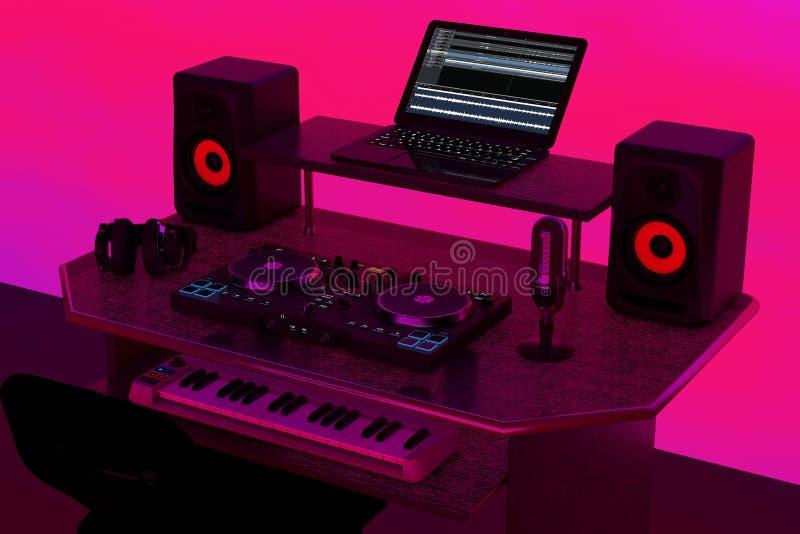 Modern inspelning Music Home Studio, Dj Workplace med elektronik och instrument 3d Rendering vektor illustrationer