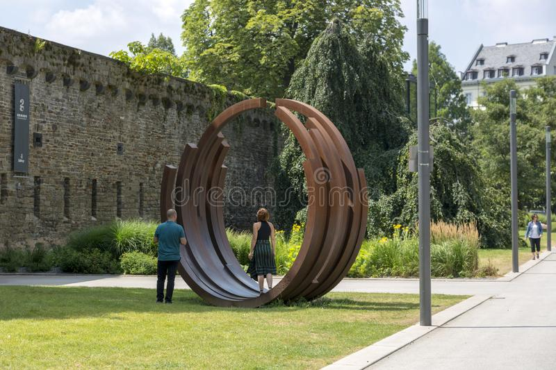 Koblenz, Germany - July 07, 2018: Modern installation in front of the Ludwig Art Museum in Koblenz royalty free stock photography