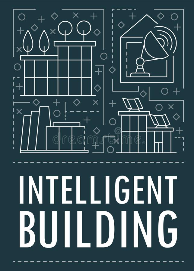 Modern intelligent building banner, outline style royalty free illustration