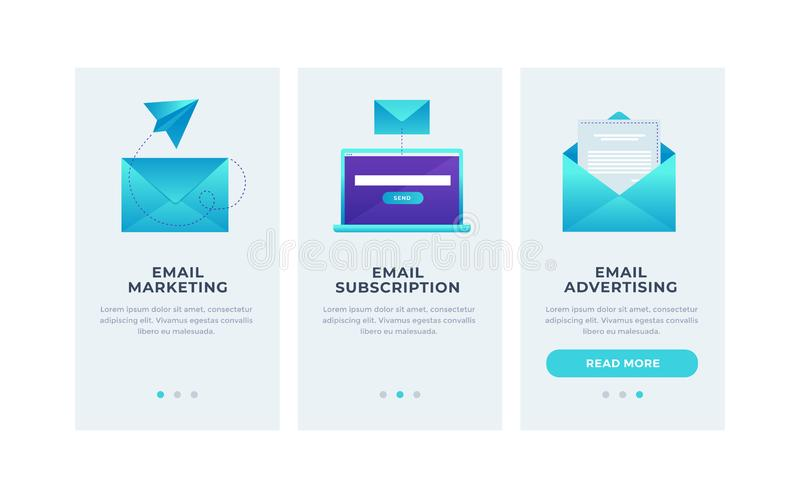 Modern interface for e-mailing. Template for smartphone or Mobile Apps. Mail envelopes and open laptop on blue background. Modern interface UI, UX and GUI vector illustration