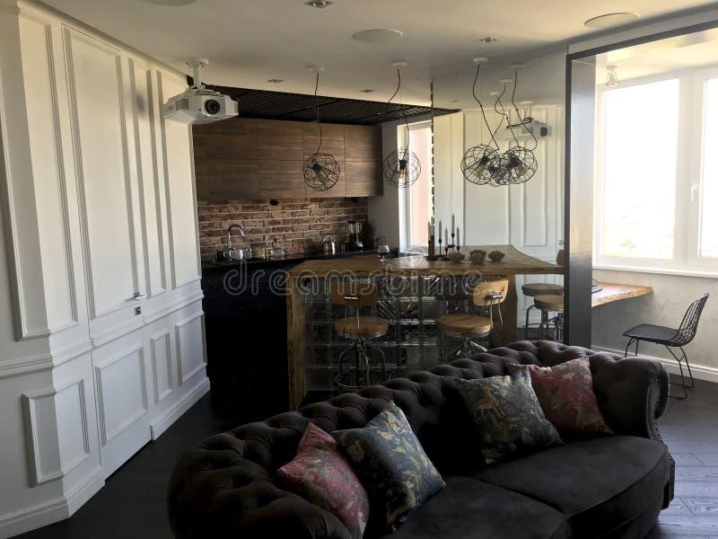 Modern interieur ontwerp van de woonkamer Elegante stijl stock fotografie