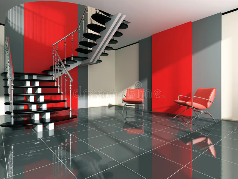 Modern interior. Of the room with stairway and easy chair stock illustration