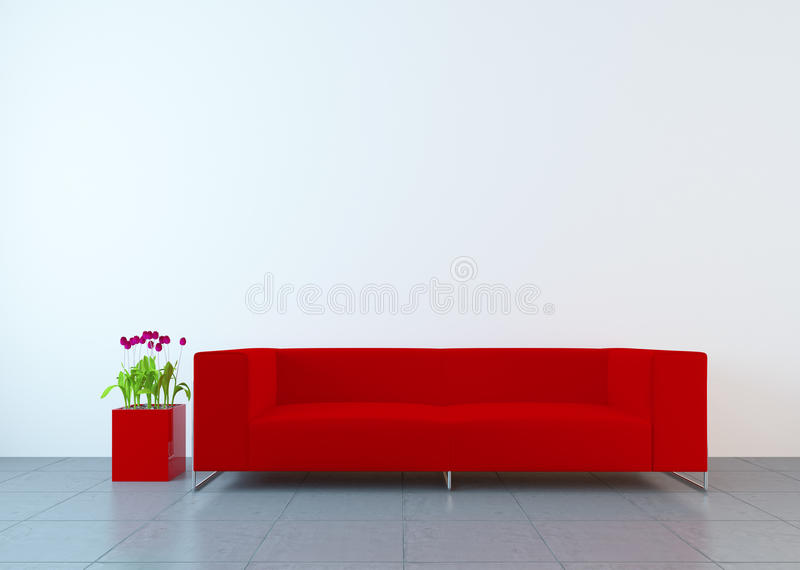 Modern interior. With sofa and tulips royalty free illustration