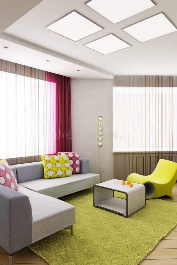 Modern interior. 3D rendering of the modern interior