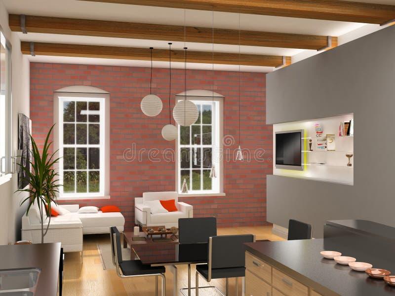 Modern interior. Design (computer generated image 3D