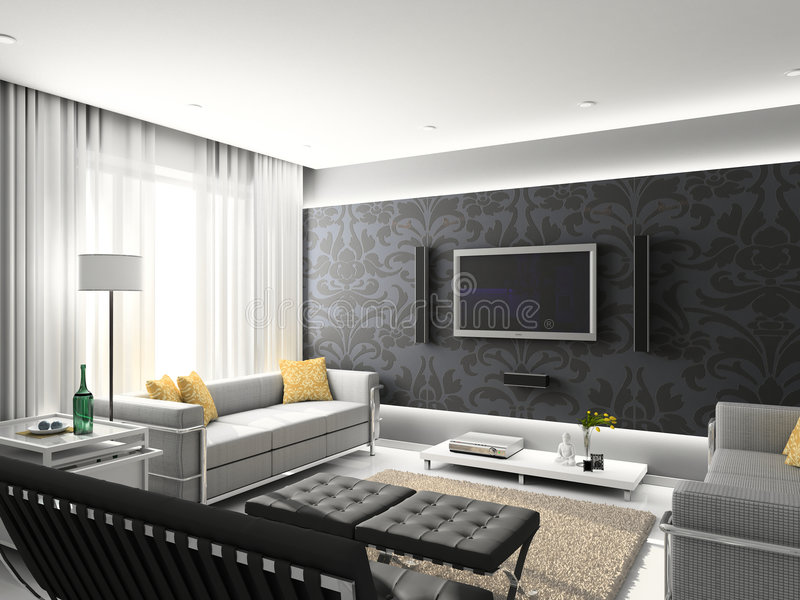 Modern interior. stock illustration