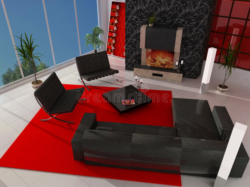 Modern interior. With a fireplace stock photography