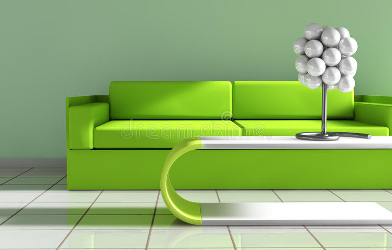 Download Modern  interior stock illustration. Illustration of green - 26887653