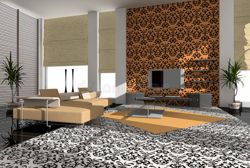 Download Modern interior stock illustration. Image of house, papers - 3216552