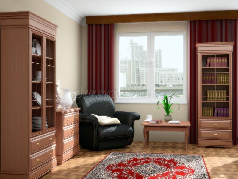 Modern interior 3d royalty free stock photos