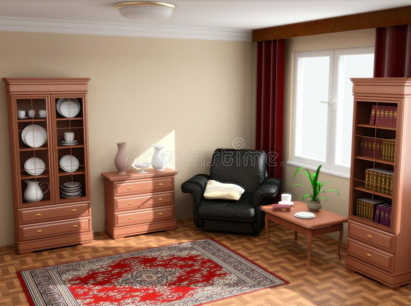 Modern interior 3d stock images
