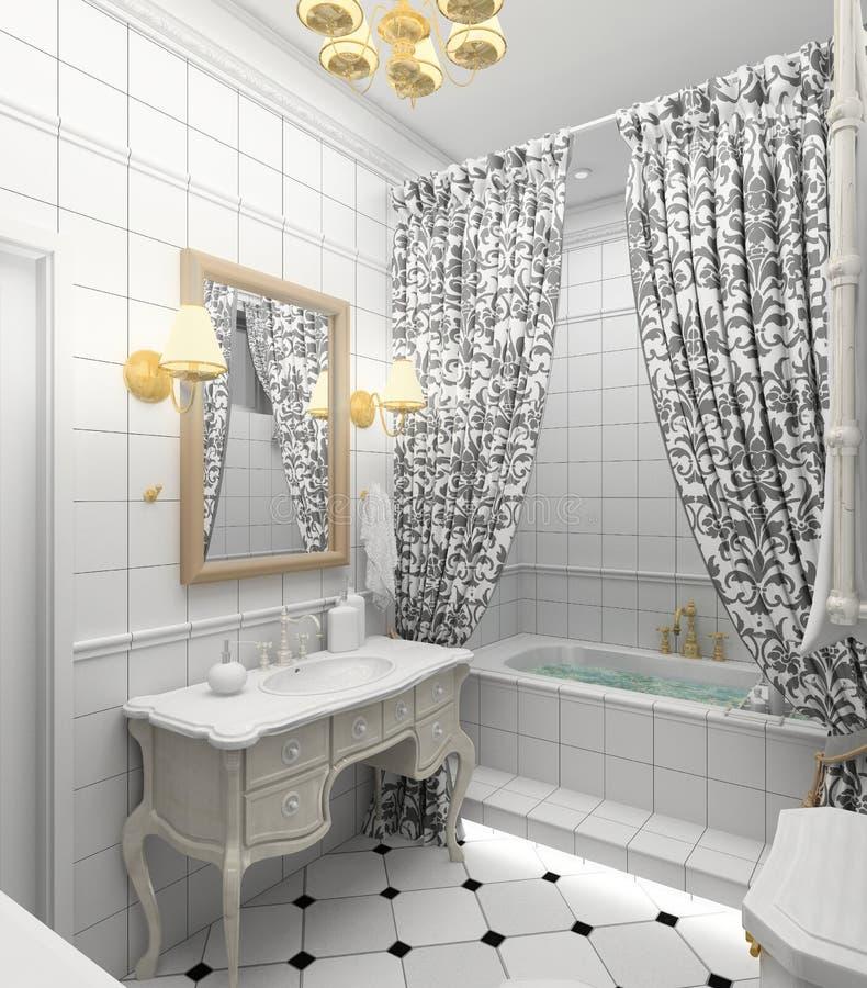 Modern interior. 3D render royalty free illustration